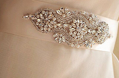 Leona Rhinestone Pearl Diamante Bridal Sash Wedding Dress Belt All Colours