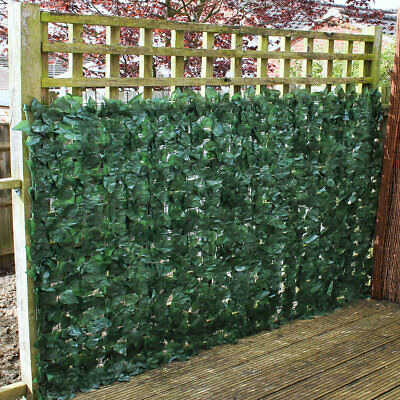 Artificial Ivy Leaf Hedge Panels On Roll Privacy Screening Garden Fence 1m x 3m
