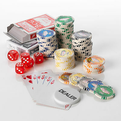 500pcs Poker Set, 11.G pokerset, 5 colours High Values 25/50/100/500/1000