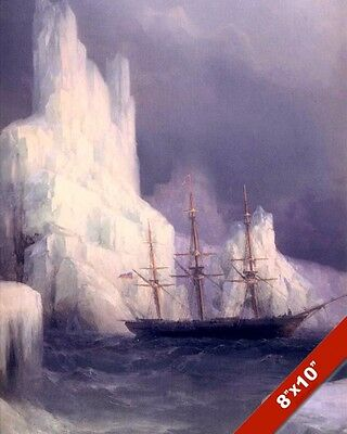 Sailboat Ship & Iceberg In Atlantic Seascape Painting Art Real Canvas Print