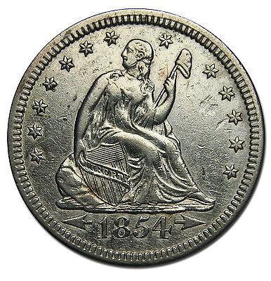1854 Seated Liberty Quarter 25¢ Coin Lot# MZ 1720