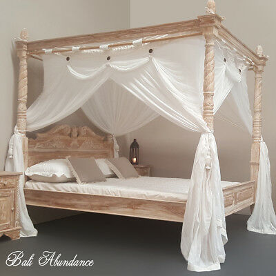 Four Poster Bed Hand Carved Whitewash Turned Posts Balinese Bedroom Teak Double