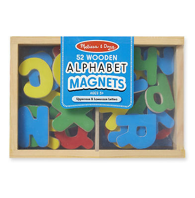 NEW Melissa and Doug Alphabet Magnets Box Of 52 - Wooden Letters Magnetic Play