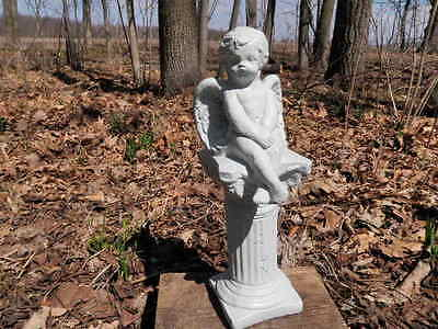 "13 1/2"" Tall Cherub Angel Sitting On Pedestal Painted Cement Garden Art Concrete"