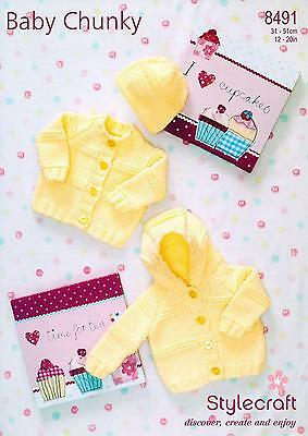 Stylecraft 8491 Knitting Pattern Cardigans & Hat in Special Baby Chunky