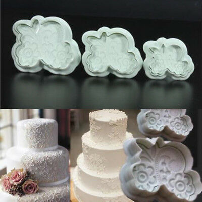 3D Fondant Rose Lace Mold Cake Cookies Plunger Cutter Sugarcraft Decor Mould