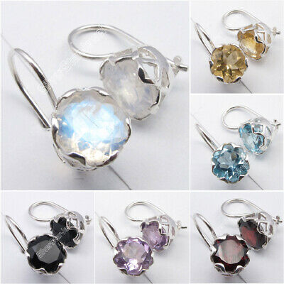 CAGE Earrings, 925 Sterling Silver Gemstones Highly Polished Discount Jewelry
