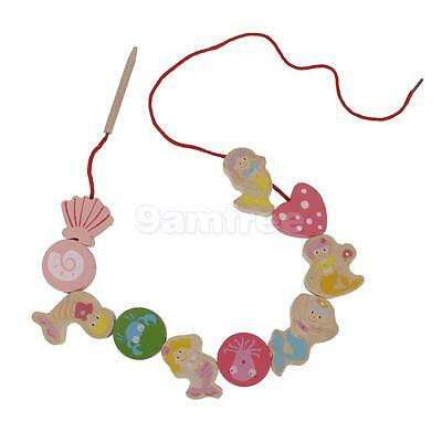 String Wooden Threading Lacing Beads Mermaid Blocks Child Kids Learning Toy