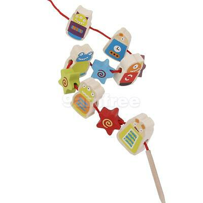 String Wooden Threading Lacing Beads Monster Blocks Child Kids Learning Toy