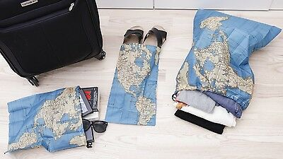 Kikkerland Travel Size Set of 3 World Map Bags Shoes Laundry Bag Compact Pouch