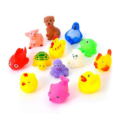 13Pcs Animals Colorful Soft Rubber Float Squeeze Baby Wash Bath Play Toys
