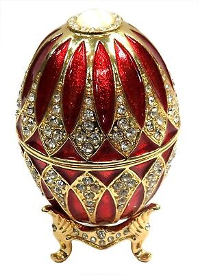 Decorative Faberge Egg Trinket Box Jewel Easter Egg Box with Crystals, Red Col