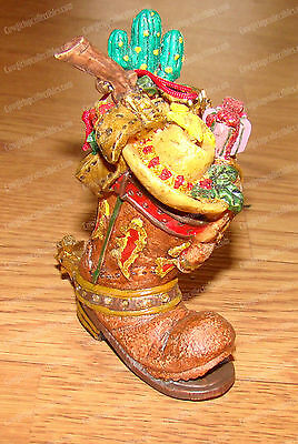 Cute, Bejeweled Western Cowboy Boot Christmas Ornament