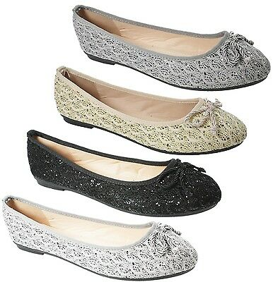 Ladies Womens Flat Pumps Glitter Ballet Ballerina Dolly Bridal Shoes Size 3-8 Ne
