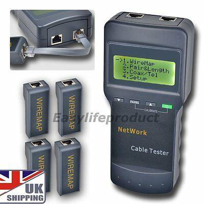 UK SC8108 Network Wire Cable Tester Meter LAN Phone Cat5 RJ45 Mapper 4 Jack