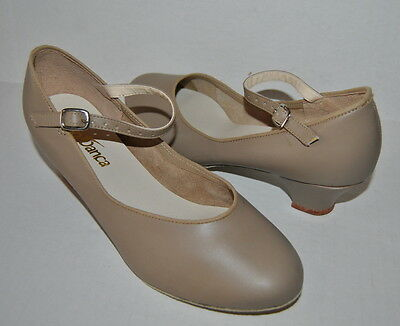 New So Danca CH02-M Sueded Sole Character Dance Shoes Adult 6 Tan Maryjanes