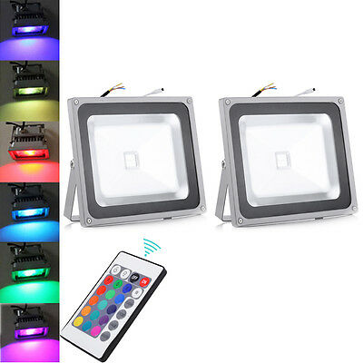 2X 50W RGB Color Changing LED Flood Light Outdoor Garden Lamp+ Remote Control