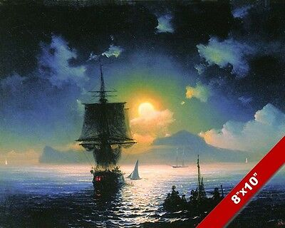 Moonlit Ships At Sea Night Sail Sailboat Seascape Painting Art Real Canvas Print