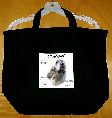 "OTTERHOUND ""History of the Breed"" Black Cotton TOTE BAG / 20""x14.5""x4.5"