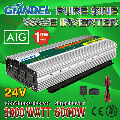 Pure Sine Wave Power Inverter 3000W(6000W Max) 24V-240V With Remote Control
