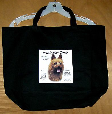 "AUSTRALIAN TERRIER ""History of the Breed"" Black Cotton TOTE BAG / 20""x14.5""x4.5"