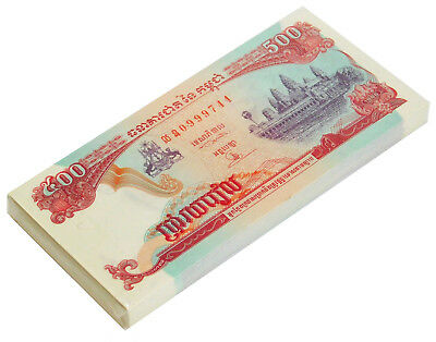Cambodia 500 Riels 1996 P 43 Unc Bundle Of (100 Notes)