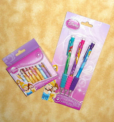NEW disney princess cinderella belle rapunzel 3 pencils & 24 crayons + FREE SHIP