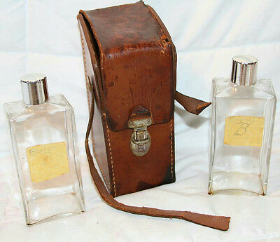 Vintage Glass Brandy & Bourbon Flasks With Leather Carrying Case