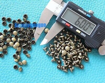 Leather Craft 6*6mm Antique Brass Rapid Rivets 200 Pack