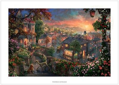 Thomas Kinkade Disney Lady and the Tramp 24 x 36 S/N Limited Edition Paper