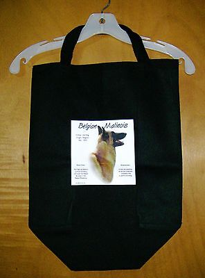 "BELGIAN MALINOIS ""History of the Breed"" Black Cotton Twill Large Tote Bag"