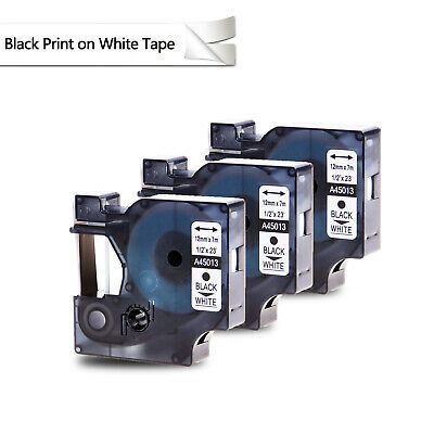 "3PK Black on White Label Tape For DYMO D1 45013 LabelManager 1/2""x23' Standard"