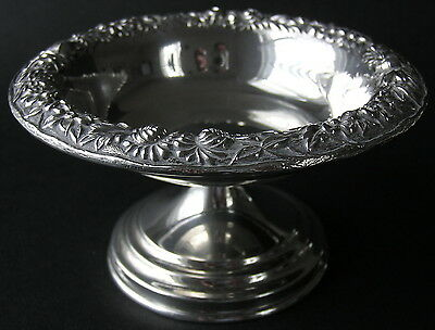 S. Kirk & Son Inc. Floral Repousse Sterling Silver Footed Compote # 408