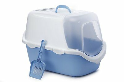 Cat Litter Pan CATHY EASY CLEAN, White/Blue
