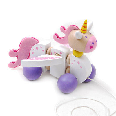 Brand new wooden pull / walk along toy animal - Unicorn
