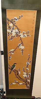 Small Chinese Original Watercolor Pink Blossoms Scroll Painting Signed
