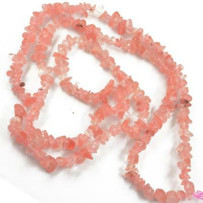 "Pink 34"" Strand Gemstone Watermelon Crystal Tumble Chip Beads 5-8mm Jewelry"