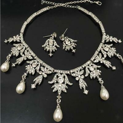 Wedding Bride Jewelry Faux Pearl Crystal Angel Pendent Necklace Earring Set