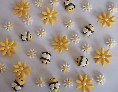 Bees & Flower garden CUPCAKE TOPPERS Edible Birthday Cake Decoration BABY SHOWER