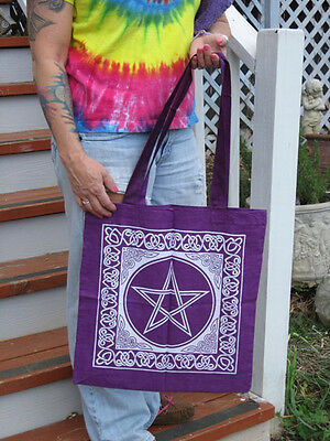 Purple & White Pentacle Tote Bag 100% cotton
