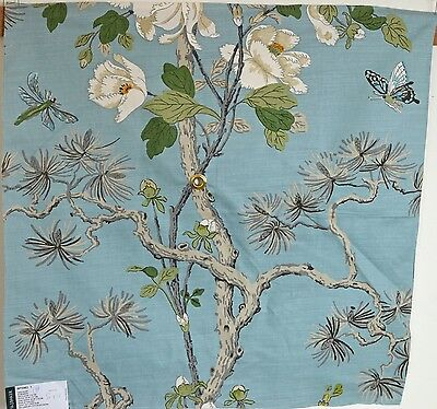 "Exquisite Thai Linen Chinoiserie Decorator Sample – Baker ""Tree Peony"" Rr746"