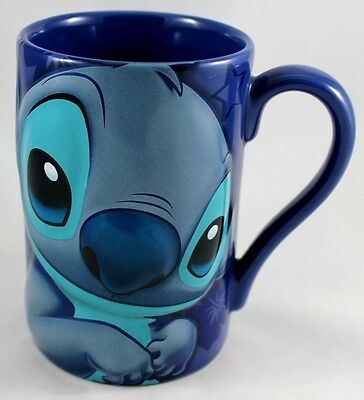 Stitch Disney 3D Ceramic Coffee Mug  Large Blue Cup New Embossing Free Shipping