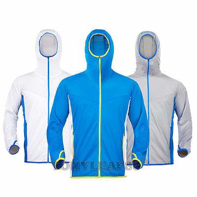 Mens Quick Dry Fishing Anti-UV Sun Protection Breathable Hoodie Jacket Coat Tops