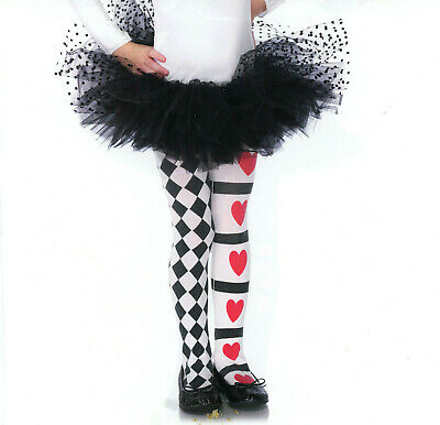 Enchanted LA 4905 Child Harlequin Hearts Tights Girls L or XL Red White Black