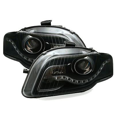 Audi A4 Starline B7 2004-2008 Black Led Drl Headlights Headlamps Left & Right