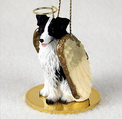 BORDER COLLIE ANGEL DOG CHRISTMAS ORNAMENT HOLIDAY Figurine Statue
