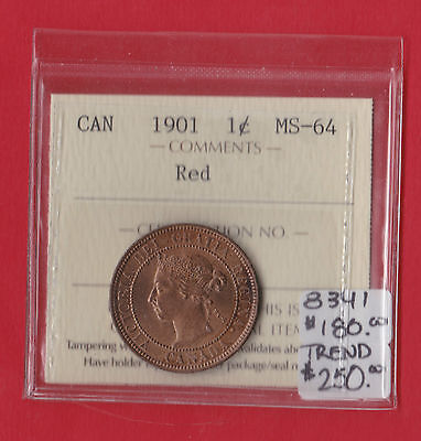 1901 Red Canada Large One Cent Coin Penny ICCS MS 64 8341 Trend $250 BKB