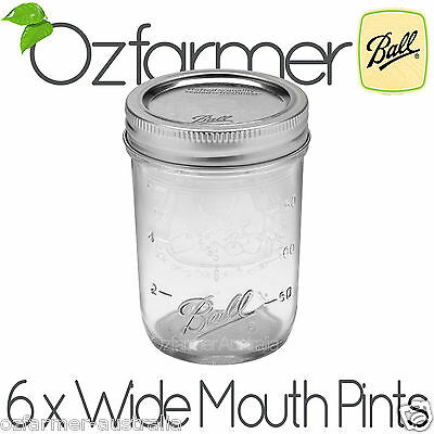 6 x 500ml Ball Mason Wide Mouth Pint Jars Canning Preserving Candles Weddings