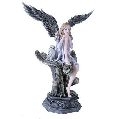 Gothic Angel with Black Wings with Gargoyle and Owl Figurine Fantasy Collectible