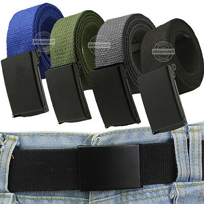 Premium Unisex Plain Mens Canvas Fabric Waist Belt Casual Army Combat Style UK